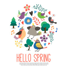 flat hello spring round concept vector image