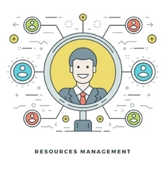 Flat line Team Building and Resources Management vector