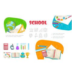 flat school elements set vector image