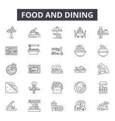 food and dining line icons signs set vector image