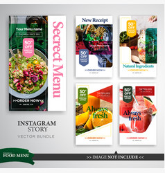 Food culinary instagram stories promotion vector