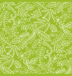 forest foliage leaves line art seamless pattern vector image