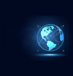 Futuristic blue earth abstract technology vector