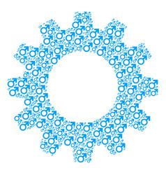 Gear mosaic of mars symbol icons vector