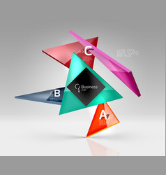 Geometric glass triangles abstract background vector