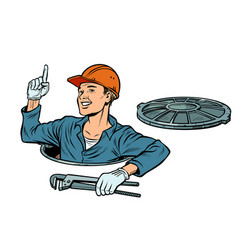 Gesture attention plumber in the manhole vector