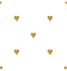 gold heart seamless pattern on white backgroung vector image