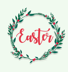 Happy easter lettering with flower flame vector