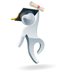 happy jumping graduate person vector image