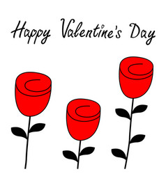 happy valentines day rose flower blossom icon set vector image