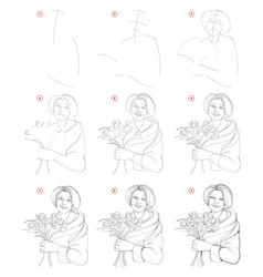 How to draw step step sketch old women vector
