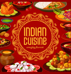Indian cuisine menu cover india restaurant dishes vector