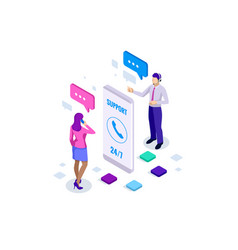Isometric user support service or call center vector