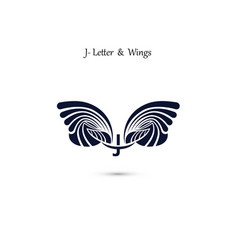 j letter sign and angel wings monogram wing logo vector image
