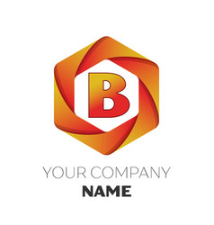 letter b logo symbol on colorful hexagonal vector image