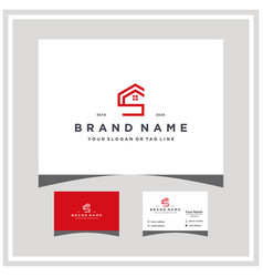 Letter cs home logo design and business card vector