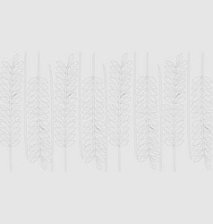 Line art branches with leaves on gray background vector