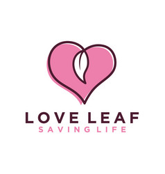 Love heart leaf nature logo design simple vector