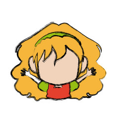 Manga anime girl chibi character little vector