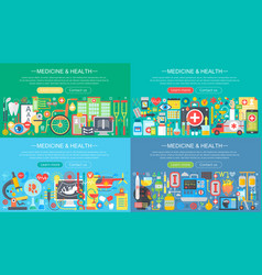 medicine and health horisontal flat concept design vector image