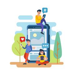Men and women with smartphone vector