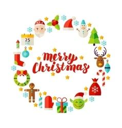 Merry Christmas Flat Circle vector image