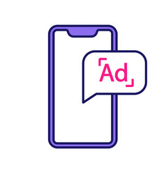 Mobile advertising color icon vector