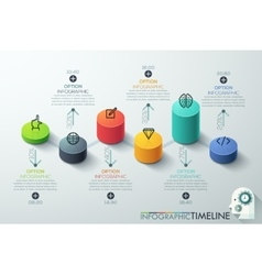 Modern business cylinder 3d style options banner vector