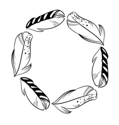 monochrome circle frame of feathers ready vector image
