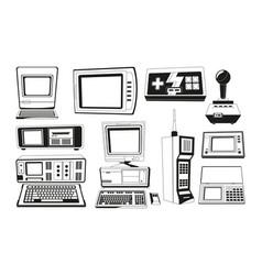 monochrome technician gadgets vector image