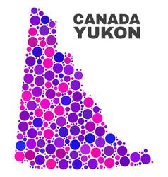mosaic yukon province map of circle dots vector image