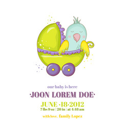 newborn parrot riding in carriage baby shower vector image