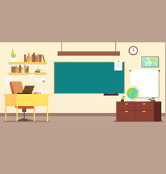 Nobody school classroom interior with teachers vector