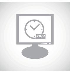 Overnight daily grey monitor icon vector
