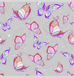 Pattern of pink butterflies on a light gray vector