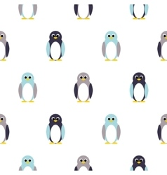 Penguin blue purple on white kid pattern vector image