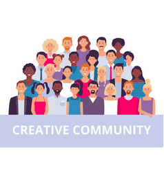 People group multiethnic community portrait vector