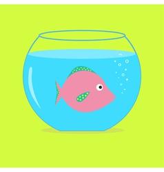 Pink fish in the aquarium Card vector