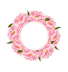 Pink peony flower banner wreath vector