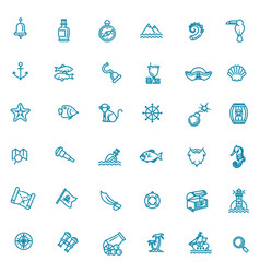 pirates icons set outline icons vector image