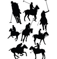 polo silhouettes vector image