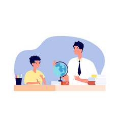 private teacher one to one training boy on vector image