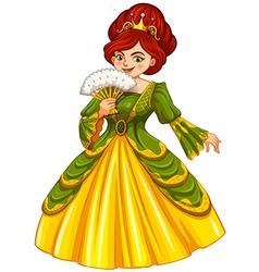 Queen in green and yellow dress vector