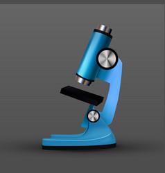 Realistic blue bio laboratory microscope vector
