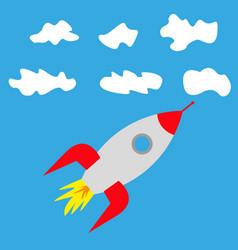 Rocket in clouds in the sky vector