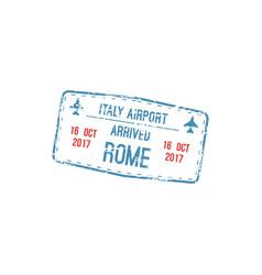rome arrival stamp visa in passport template vector image