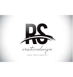 Rs r s letter logo design with swoosh and black vector