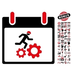 Running Worker Calendar Day Flat Icon With vector