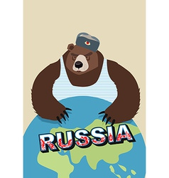 Russian bear soldier in ear flaps and a t-shirt vector image vector image