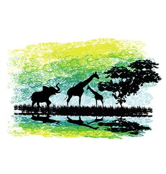 Safari in Africa silhouette of wild animals vector image